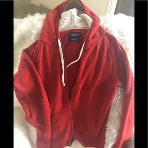 American Eagle Russet hooded zip up hoodie.